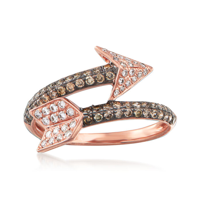 C. 1990 Vintage Effy .75 ct. t.w. Brown and White Diamond Arrow Ring in 14kt Rose Gold. Size 7