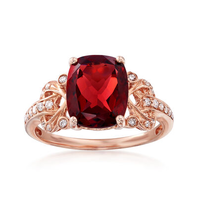 3.90 Carat Garnet and .15 ct. t.w. Diamond Ring in 14kt Rose Gold