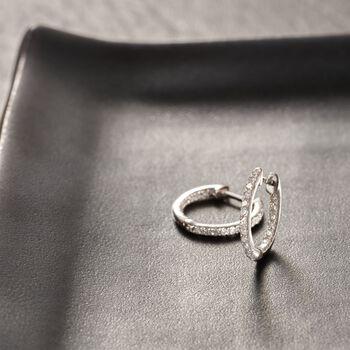 """.20 ct. t.w. Diamond Inside-Outside Huggie Hoop Earrings in 14kt White Gold. 3/8"""", , default"""