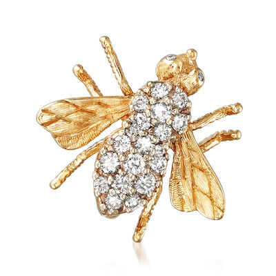 C. 1980 Vintage .75 ct. t.w. Diamond Bumble Bee Pin in 14kt Yellow Gold, , default