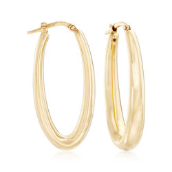 Italian 18kt Yellow Gold Oblong Oval Hoop Earrings, , default