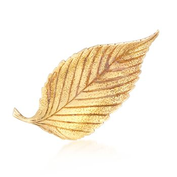 C. 1980 Vintage Tiffany Jewelry 18kt Yellow Gold Textured and Polished Leaf Pin, , default
