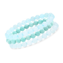 "Blue Multi-Stone Jewelry Set: Three Bead Stretch Bracelets. 7"", , default"