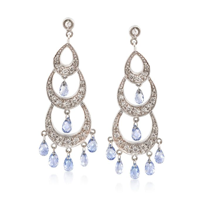 C. 2000 Vintage 4.20 ct. t.w. Sapphire and 1.00 ct. t.w. Diamond Chandelier Earrings in 18kt White Gold