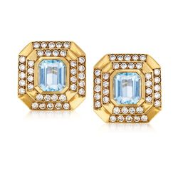 C. 1980 Vintage 7.50 ct. t.w. Blue Topaz and 4.00 ct. t.w. Diamond Earrings in 18kt Yellow Gold, , default