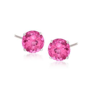 4.50 ct. t.w. Pink Topaz Stud Earrings in 14kt White Gold, , default