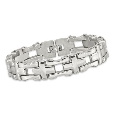 "Men's Stainless Steel Polished Link Bracelet. 8.5"", , default"