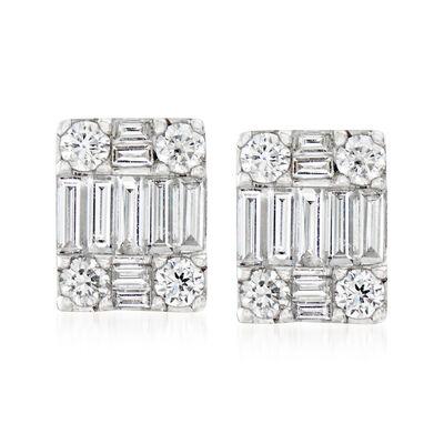 .85 ct. t.w. Diamond Rectangle Earrings in 18kt White Gold