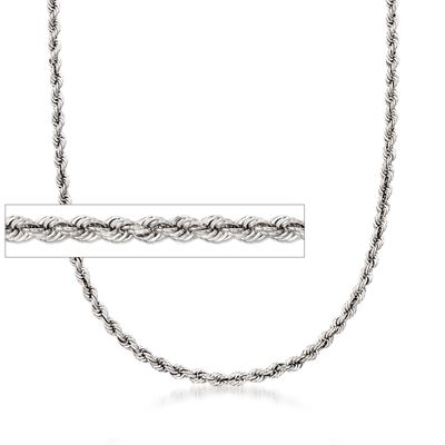 4mm Sterling Silver Rope Chain Necklace, , default