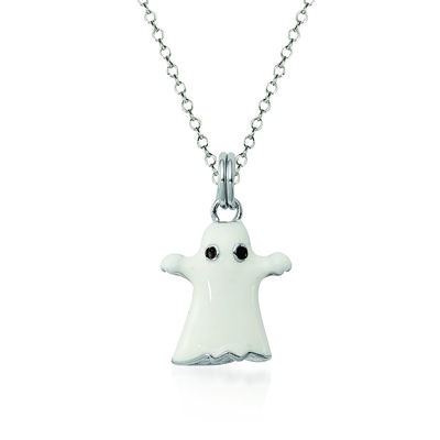"Sterling Silver and White Enamel Ghost Charm Necklace. 18"", , default"