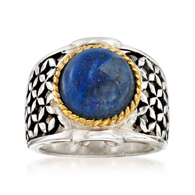 Lapis Basketweave Ring in Two-Tone Sterling Silver, , default