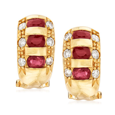 C. 1990 Vintage 1.50 ct. t.w. Ruby and .55 ct. t.w. Diamond Earrings in 18kt Yellow Gold, , default