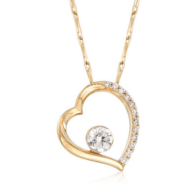.26 ct. t.w. Diamond Open-Heart Necklace in 14kt Yellow Gold, , default