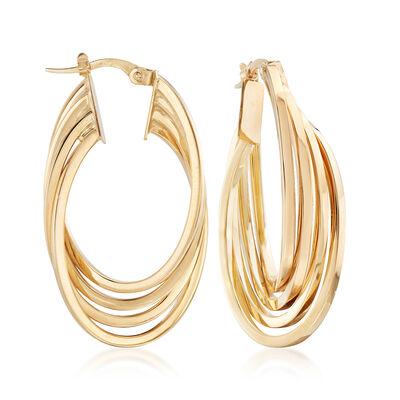 Italian Multi-Oval Hoop Earrings in 14kt Yellow Gold, , default
