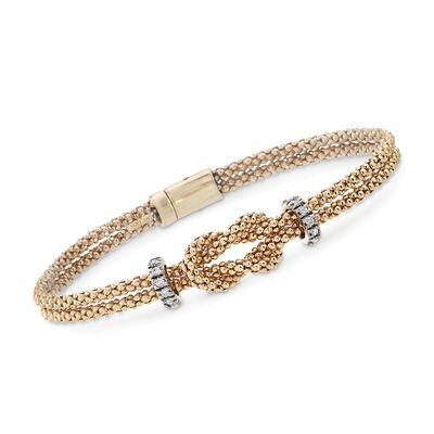 "Phillip Gavriel ""Popcorn"" .24 ct. t.w. Diamond Knot Bracelet in 14kt Yellow Gold, , default"