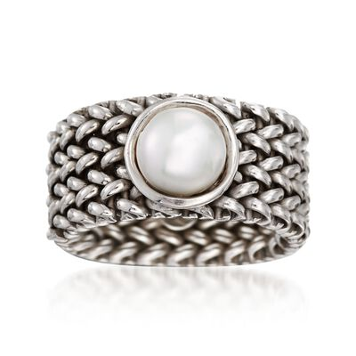 Italian 7mm Cultured Pearl Riso Ring in Sterling Silver, , default