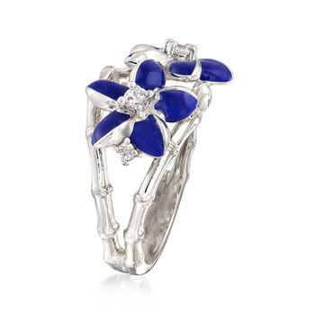 "Belle Etoile ""Leilani"" Blue Enamel and .17 ct. t.w. CZ Flower Ring in Sterling Silver, , default"