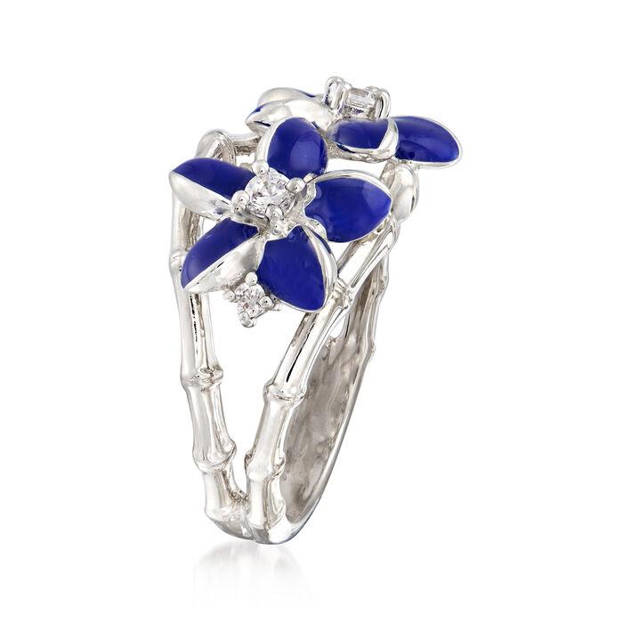"Belle Etoile ""Leilani"" Blue Enamel and .17 ct. t.w. CZ Flower Ring in Sterling Silver"