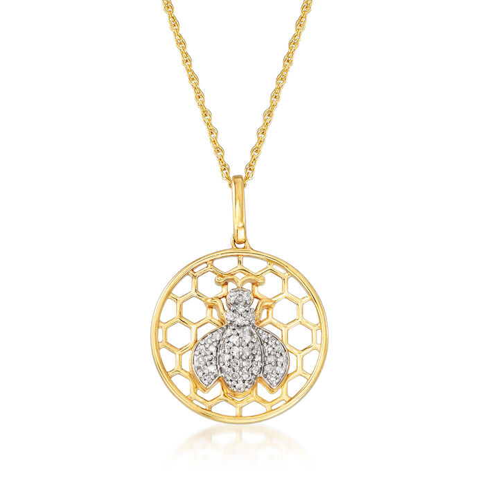 """.18 ct. t.w. Bee and Honeycomb Pendant Necklace in 18kt Gold Over Sterling. 18"""""""