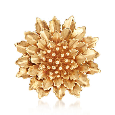 C. 1970 Vintage Tiffany Jewelry 14kt Yellow Gold Flower Pin, , default