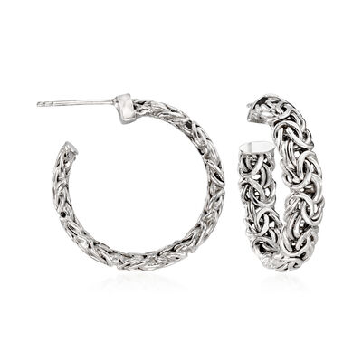 Sterling Silver Byzantine C-Hoop Earrings, , default
