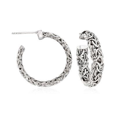 Sterling Silver Byzantine C-Hoop Earrings, , default