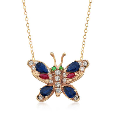 C. 1970 Vintage 2.70 ct. t.w. Multi-Gemstone Butterfly Pendant Necklace in 14kt Yellow Gold, , default
