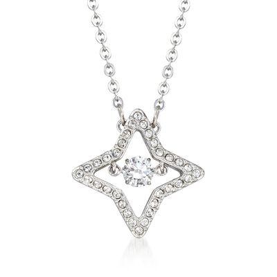 "Swarovski Crystal ""Sparkling Dance Star"" Crystal Star Pendant Necklace in Silvertone, , default"