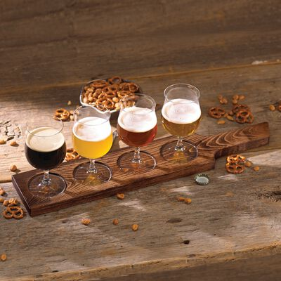 Lenox Crystal Beer Flight With Wooden Board, , default