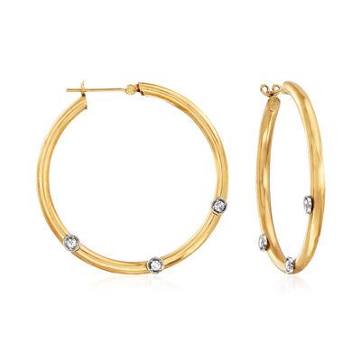C. 1980 Vintage .30 ct. t.w. Diamond Station Hoop Earrings in 14kt Yellow Gold, , default