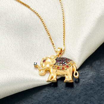 """.50 ct. t.w. Multicolored Sapphire Elephant Pendant Necklace in 18kt Gold Over Sterling. 18"""""""