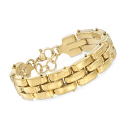 Italian Triple-Row Panther-Link Bracelet in 18kt Yellow Gold Over Sterling, , default