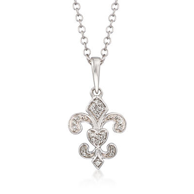 Sterling Silver Fleur-De-Lis Pendant Necklace with Diamond Accents, , default