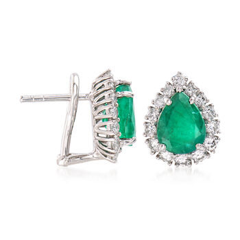 3.00 ct. t.w. Emerald and 1.00 ct. t.w. Diamond Earrings in 18kt White Gold