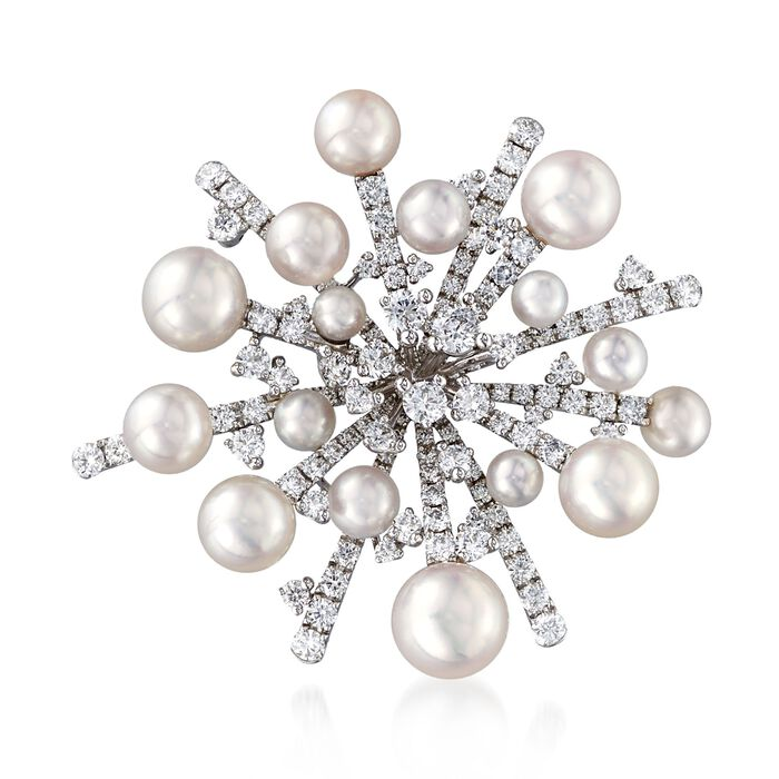 "Mikimoto ""Splash"" 3.7-8.2mm A+ Akoya Pearl and 2.95 ct. t.w. Diamond Pin in 18kt White Gold , , default"
