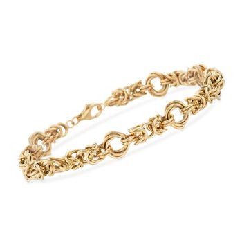 "14kt Yellow Gold Interlocking Multi-Circle Link Bracelet. 7.25"", , default"