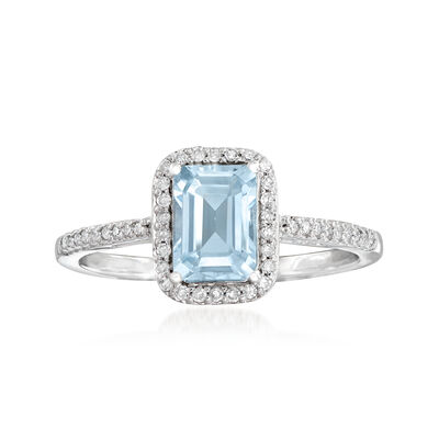 1.00 Carat Aquamarine and .15 ct. t.w. Diamond Ring in 14kt White Gold, , default