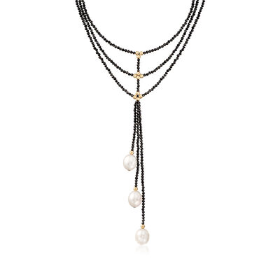 10-10.5mm Cultured Pearl and 60.00 ct. t.w. Black Spinel Lariat Necklace in 14kt Yellow Gold , , default