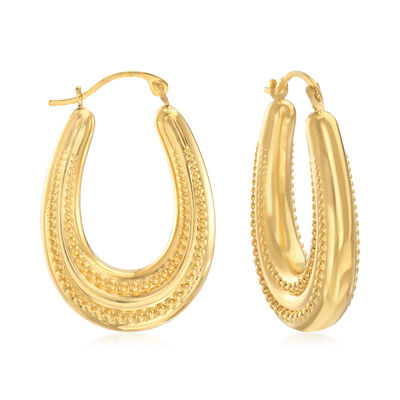 14kt Yellow Gold Beaded Oval Hoop Earrings, , default
