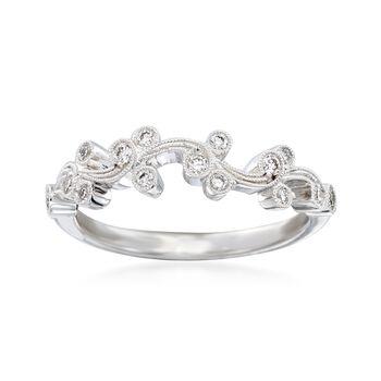 "Simon G. ""Vintage Explorer"" .17 ct. t.w. Diamond Floral Ring in 18kt White Gold, , default"