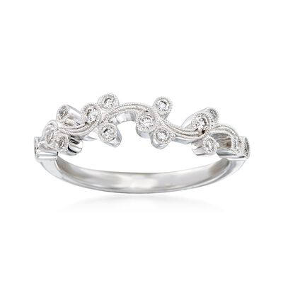 "Simon G. ""Vintage Explorer"" .17 ct. t.w. Diamond Floral Ring in 18kt White Gold, , default"