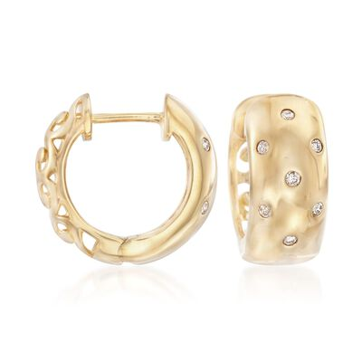 .16 ct. t.w. Burnish-Set Diamond Huggie Hoop Earrings in 14kt Gold Over Sterling, , default
