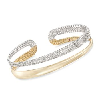 """Roberto Coin 1.75 ct. t.w. Diamond Cuff Bracelet in 18kt Two-Tone Gold. 7"""", , default"""