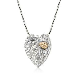 "Sterling Silver Leaf Pendant Necklace With 14kt Yellow Gold Ladybug. 18"", , default"