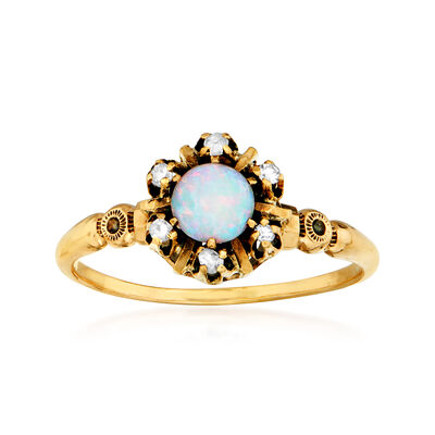 C. 1950 Vintage Opal and Diamond-Accented Ring in 10kt Yellow Gold, , default