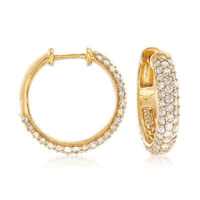3.00 ct. t.w. Diamond Hoop Earrings in 18kt Gold Over Sterling