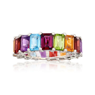9.20 ct. t.w. Multi-Gemstone Eternity Band in Sterling Silver, , default