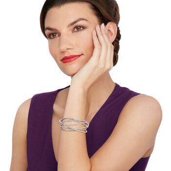 "7.65 ct. t.w. Diamond Criss-Cross Bracelet in 18kt White Gold. 7"", , default"
