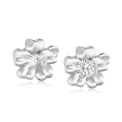 14kt White Gold Flower Petal Earring Jackets