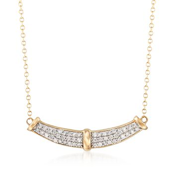 """.33 ct. t.w. Diamond Curve Necklace in 14kt Yellow Gold. 18"""", , default"""